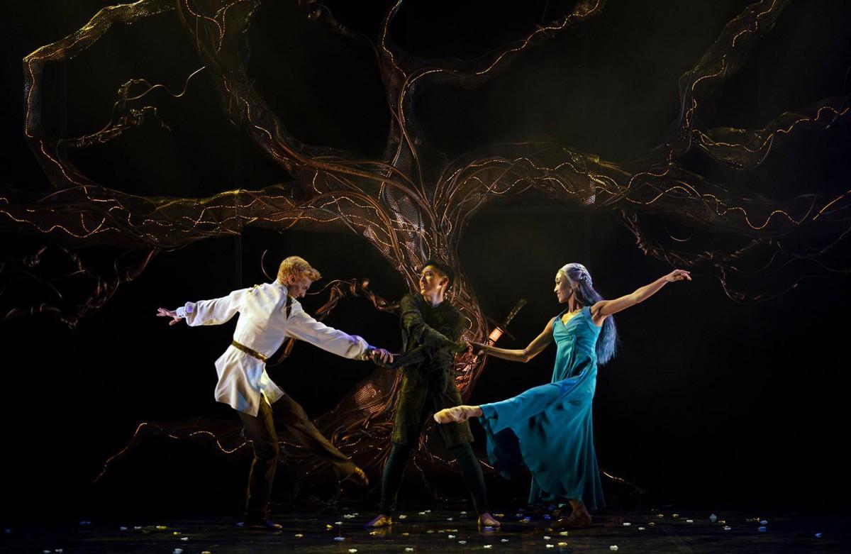 Sean Bates, Matthew Koon and Minju Kang in Merlin. Photo: Emma Kauldhar